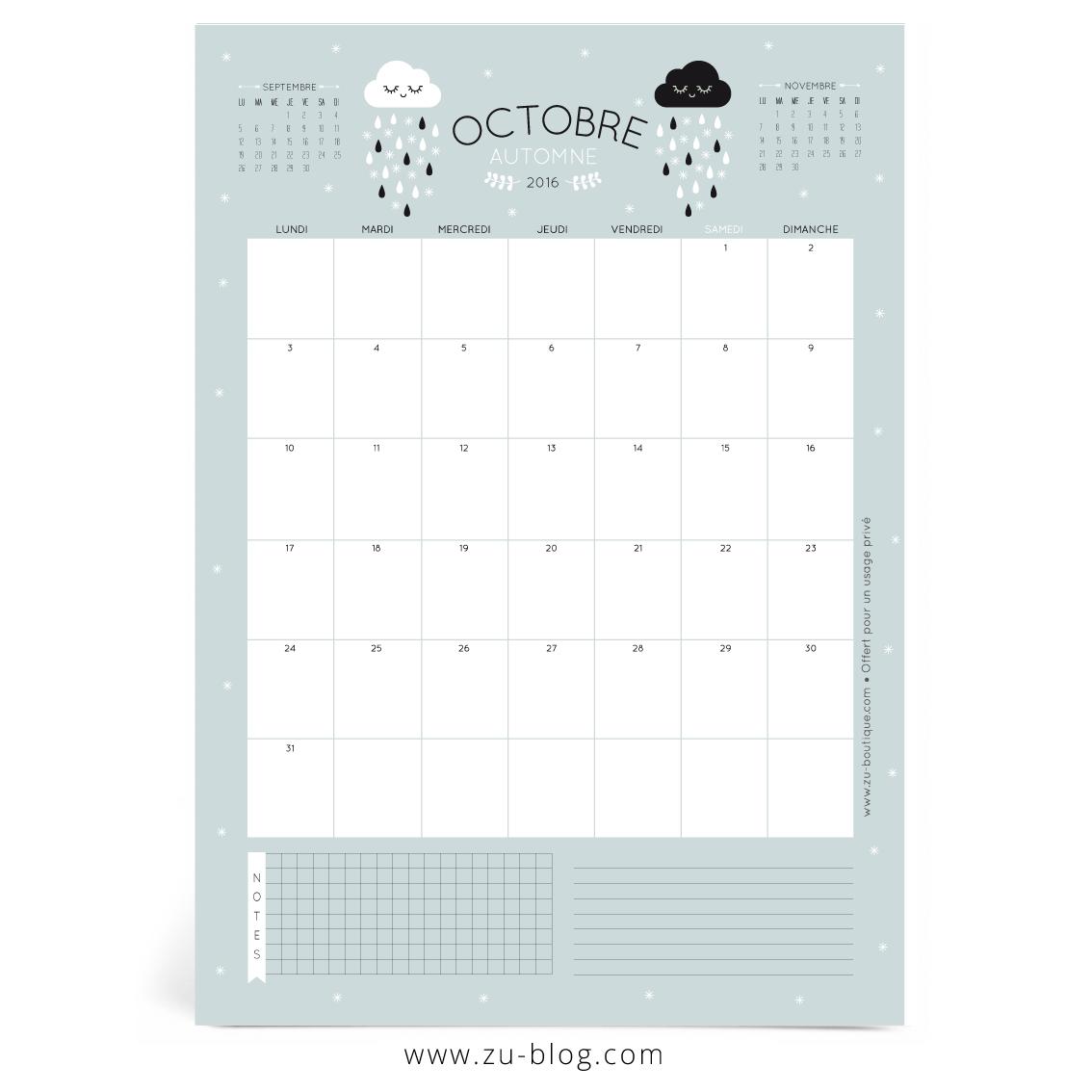 Le calendrier diy octobre 2016 z le blog - Calendrier lune octobre 2017 ...