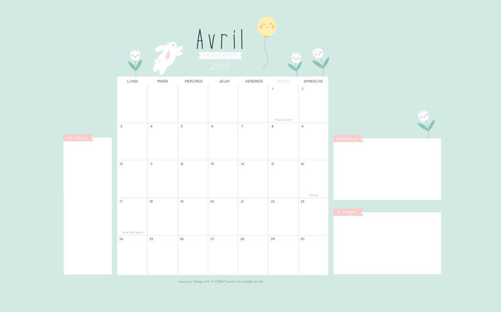 Le calendrier diy 2017 avril z le blog - Calendrier lunaire rustica avril 2017 ...