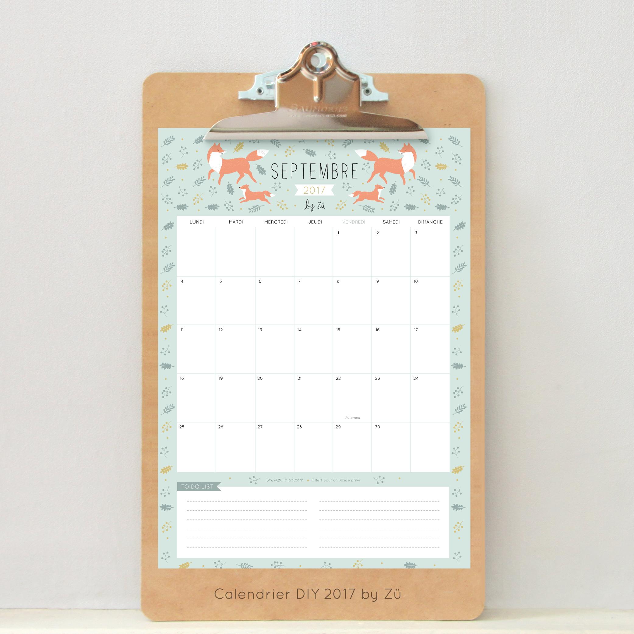 Le calendrier diy septembre 2017 z le blog - Calendrier lune septembre 2017 ...
