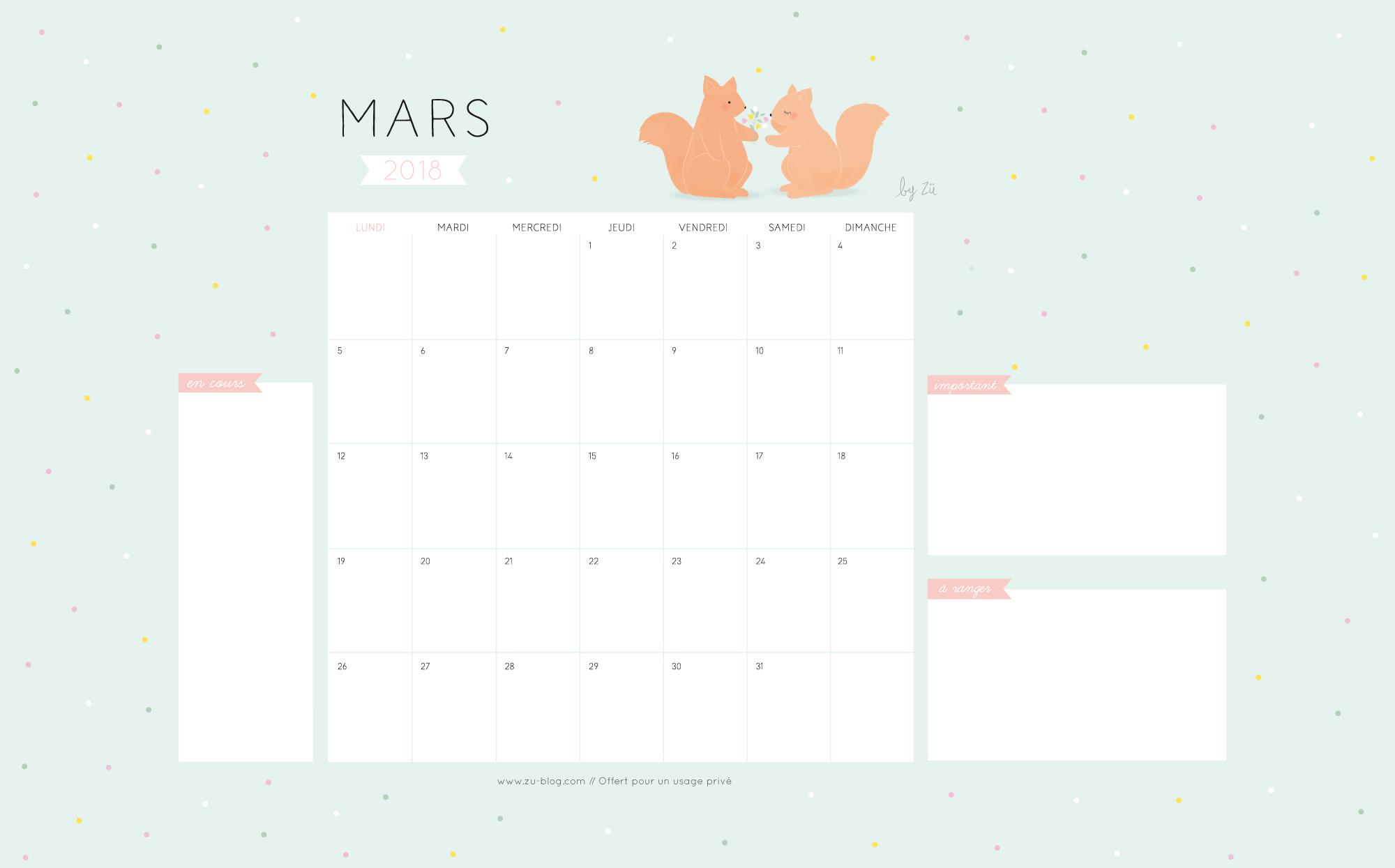 Le Calendrier Diy Mars 2018 Zu Le Blog