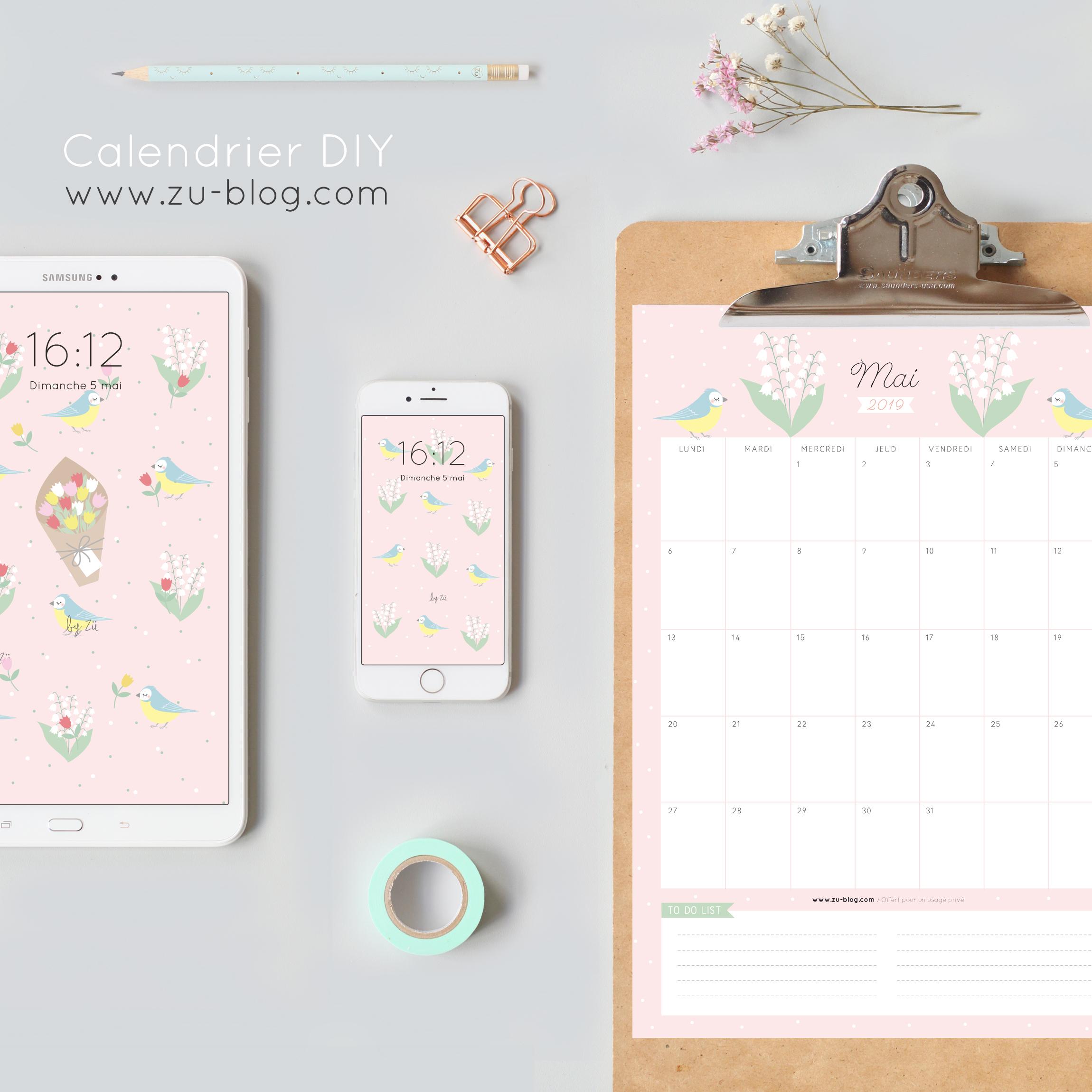 Mai Calendrier 2019.Le Calendrier Diy Mai 2019 Zu Le Blog